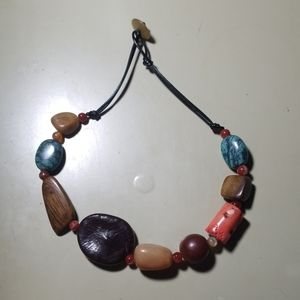 Colorful wood and stone necklace